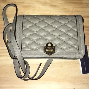 NWT Rebecca Minkoff Taupe Madison Quilted Xbody
